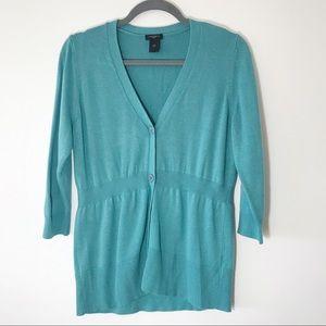 Ann Taylor 3/4 Sleeve Teal Cardigan Jacket Size L